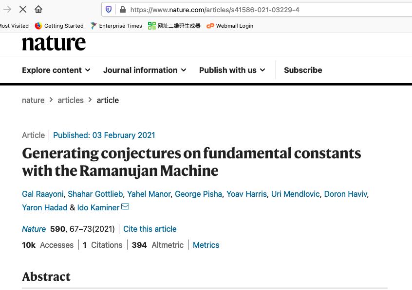 The Ramanujan Machine article